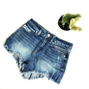 PINK VS size 2 High Rise Blue Jean Shorts Tribal